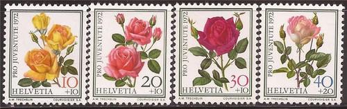 Switzerland - 1972 Famous Roses - 4 Stamp Set MH - Scott #B410-3