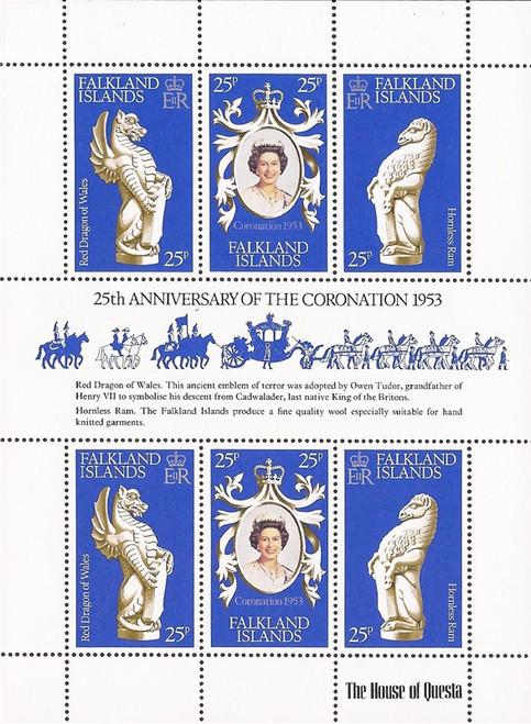 Falkland Islands - 1978 Queen Elizabeth II - 6 Stamp Sheet - Scott #275