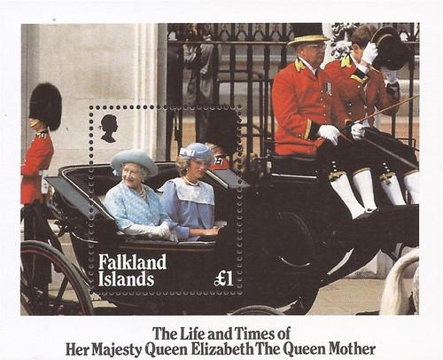 Falkland Islands - 1985 Queen Mother 85th Birthday - Souvenir Sheet #424