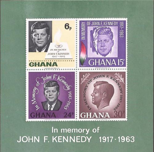Ghana - 1965 John F. Kennedy - 4 Stamp Souvenir Sheet - Scott #239a
