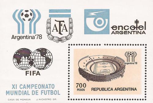 Argentina - 1978 World Cup Soccer - Stamp Souvenir Sheet - Scott #1192