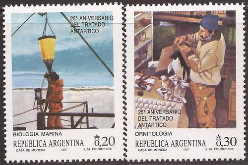 Argentina - 1987 Antarctic Treaty - 2 Stamp Set - Scott #1579-80