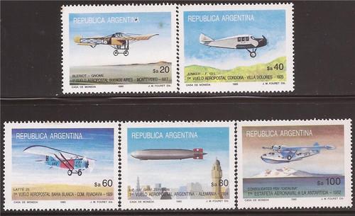 Argentina - 1985 Aviation First Argentina Airmail - 5 Stamp Set #1494-8