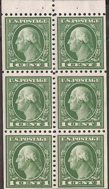 US Stamp - 1914 1c Washington Perf 10 - Booklet Pane of 6 Stamps MNH #424d