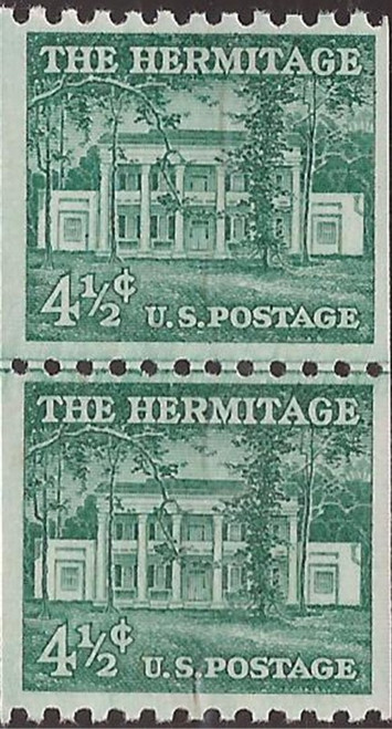 US Stamp - 1959 4½c The Hermitage Home - Coil Joint Line Pair MNH - Scott #1059