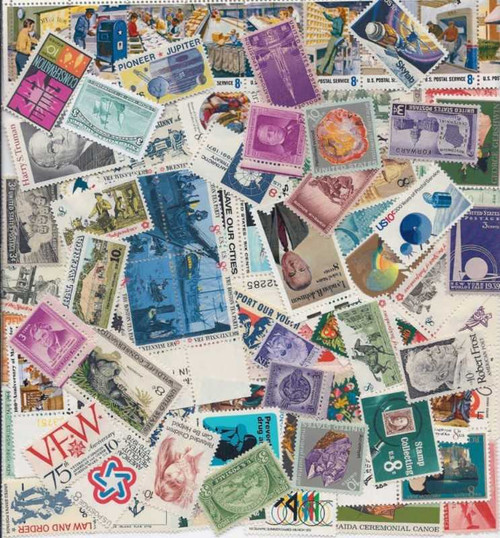 US Stamp Collection - 100 Different Mint - At Least 10 Stamps Over 50 Years Old