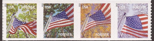 US Stamp - 2013 Flags For All Seasons Strip of 4 Forever Stamps Perf 11V  #4777a