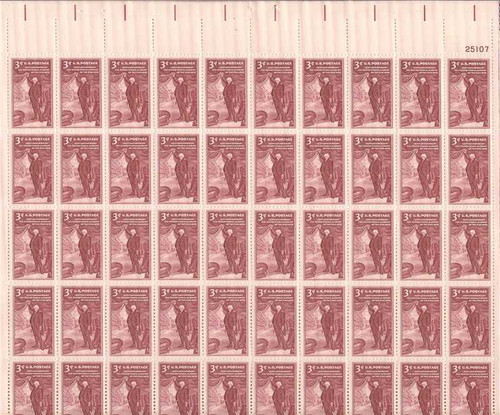 US Stamp - 1955 Pennsylvania Academy of the Arts 50 Stamp Sheet #1064