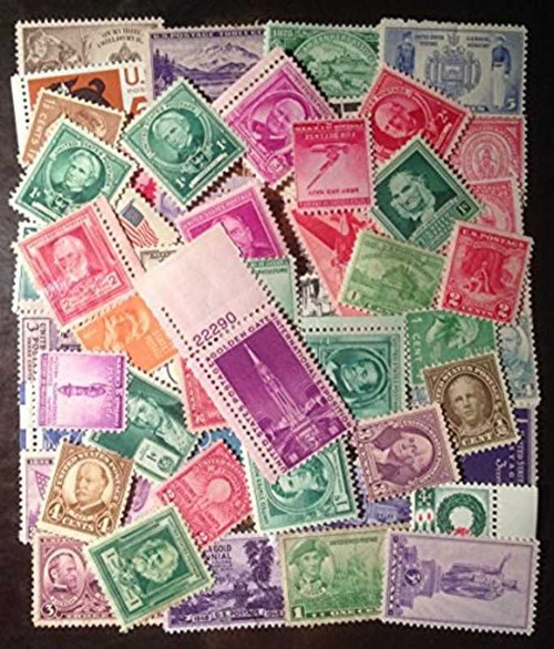 US Stamp Collection 50 Very Old Mint Stamps from 1930s and 1940s