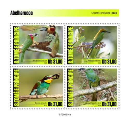 St Thomas - 2020 Bee-eaters, Red-bearded, European - 4 Stamp Sheet - ST200314a