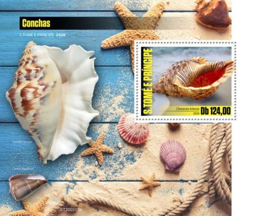 St Thomas - 2020 Triton's Trumpet Seashells - Stamp Souvenir Sheet - ST200313b