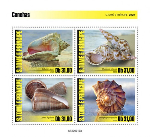 St Thomas - 2020 Queen Conch Seashells - 4 Stamp Sheet - ST200313a