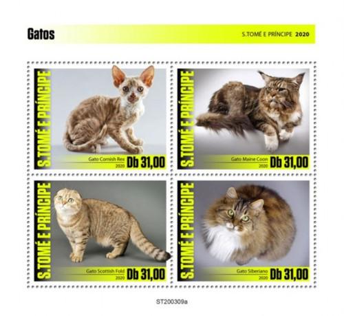 St Thomas - 2020 Cat Breeds, Scottish Fold, Siberian - 4 Stamp Sheet - ST200309a