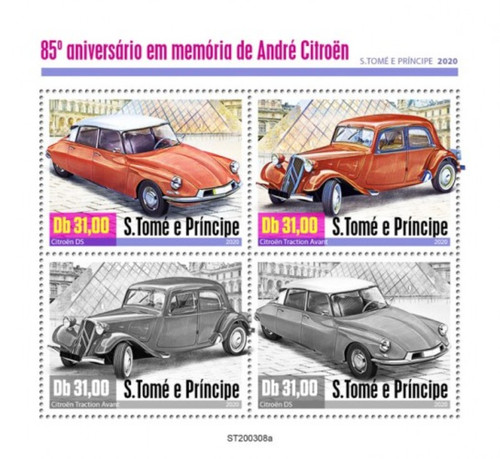 St Thomas - 2020 Andre Citroen Automobiles - 4 Stamp Sheet - ST200308a