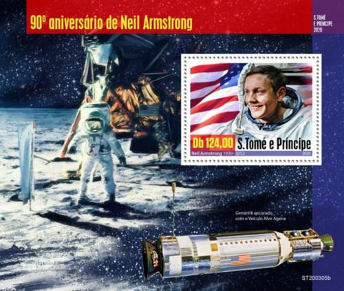 St Thomas - 2020 Astronaut Neil Armstrong - Stamp Souvenir Sheet - ST200305b