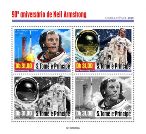 St Thomas - 2020 Astronaut Neil Armstrong - 4 Stamp Sheet - ST200305a
