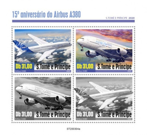 St Thomas - 2020 Aerospace Corporation Plane - 4 Stamp Sheet - ST200304a