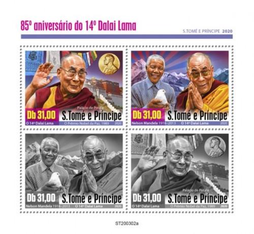 St Thomas - 2020 Dalai Lama Anniversary - 4 Stamp Sheet - ST200302a