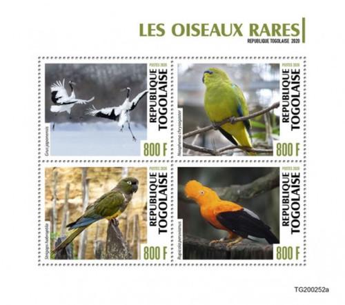 Togo - 2020 Rare Birds, Red-crowned Crane, Kakapo - 4 Stamp Sheet - TG200252a
