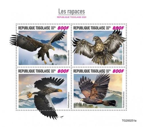 Togo - 2020 Birds of Prey, Sea Eagle, Harris's Hawk - 4 Stamp Sheet - TG200251a