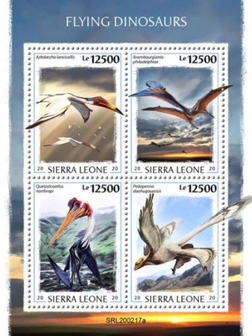 Sierra Leone - 2020 Flying Dinosaurs, Azhdarcho - 4 Stamp Sheet - SRL200217a