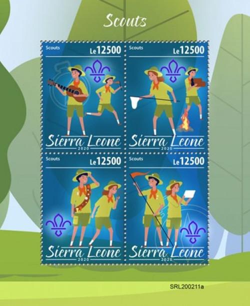Sierra Leone - 2020 Boy Scouts & Girl Scouts - 4 Stamp Sheet - SRL200211a