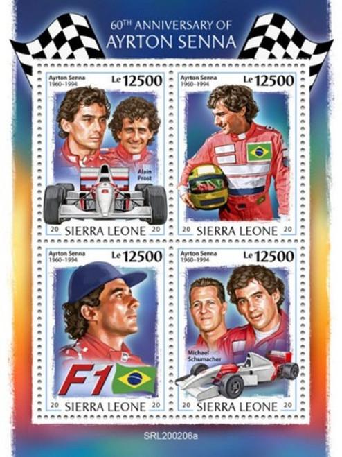 Sierra Leone - 2020 Racing Driver Ayrton Senna - 4 Stamp Sheet - SRL200206a