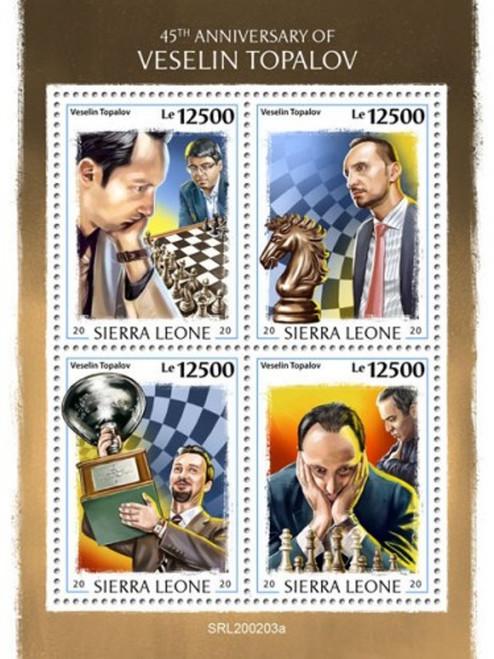 Sierra Leone - 2020 Chess Grandmaster Veselin Topalov - 4 Stamp Sheet SRL200203a