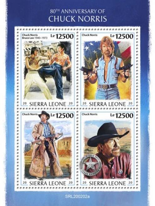 Sierra Leone 2020 Actor Martial Artist Chuck Norris 4 Stamp Sheet SRL200202a