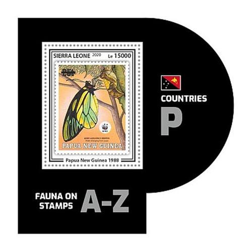 Sierra Leone - 2020 WWF Stamp on Stamp Insect - Stamp Souvenir Sheet SRL200446b5