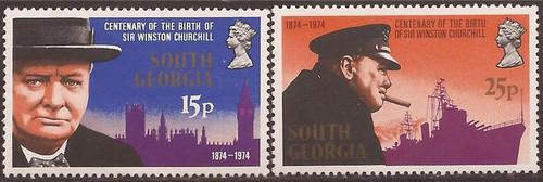 South Georgia - 1974 Winston Churchill - 2 Stamp Set MNH #39-40