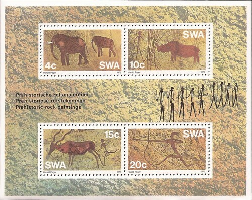 South West Africa - 1976 Prehistoric Rock Paintings 4 Stamp Sheet #387a
