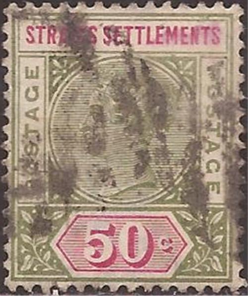 Straits Settlements - 1892 50c Queen Victoria Stamp U - Scott #87