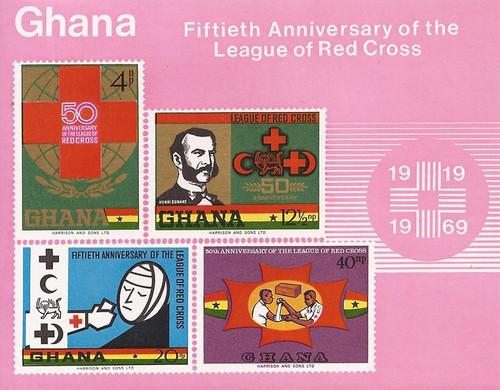 Ghana - 1970 Red Cross Societies Anniversary - 4 Stamp Sheet #381a