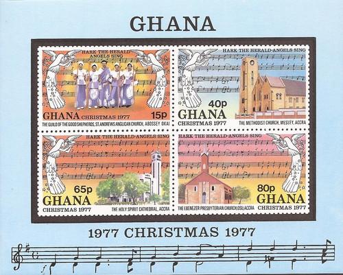 Ghana - 1977 Christmas Churches - 4 Stamp Souvenir Sheet - Scott #637