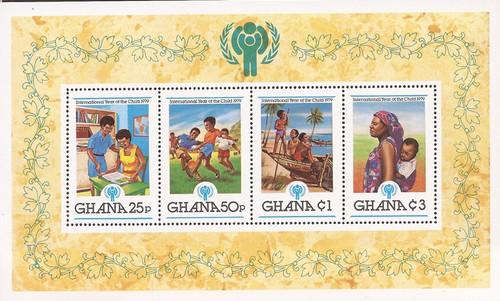 Ghana - 1980 Intl Year of the Child - 4 Stamp Souvenir Sheet #713