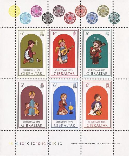 Gibraltar - 1975 Christmas Children - 6 Stamp Block - Scott #325