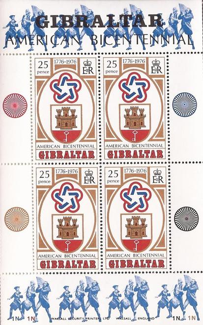 Gibraltar - 1976 American Bicentennial - 4 Stamp Souvenir Sheet #329a