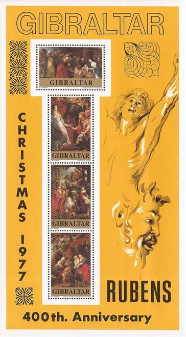 Gibraltar - 1977 Christmas Rubens Art - 4 Stamp Souvenir Sheet #362a