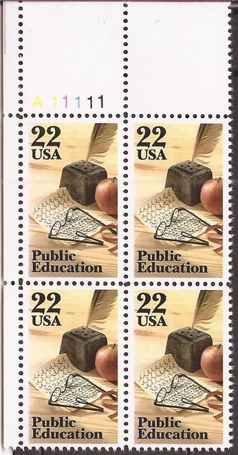 US Stamp - 1985 22c Public Education - 4 Stamp Plate Block #2159