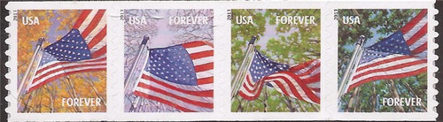 US Stamp - 2013 Flags for All Seasons - Strip of 4 Forever Stamps Perf 8½ V #4769a