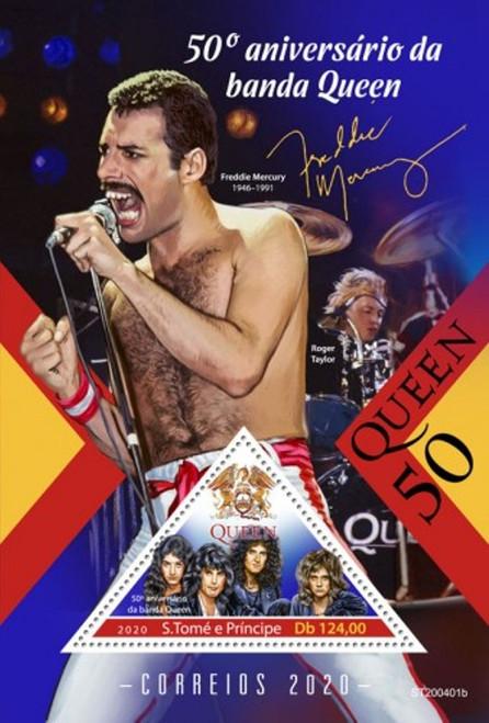 St Thomas 2020 Freddie Mercury & Queen  50th Anniversary Stamp Sheet ST200401b