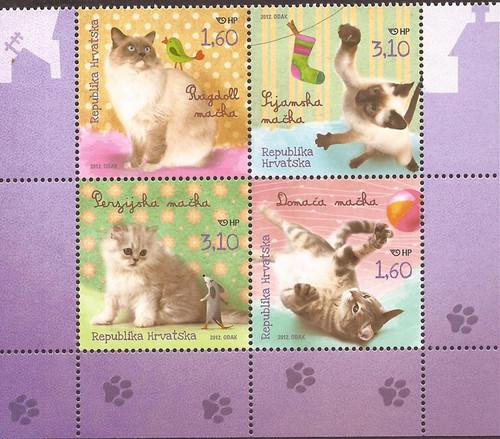 Croatia - 2012 Cat Breeds - Block of 4 Stamps - Scott #826