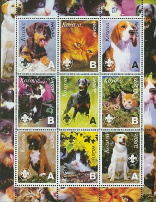 Dogs & Cats On Stamps - Mint Sheet of 9 - 3703