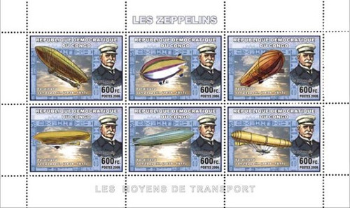 Congo-Zeppelin Airship On Stamps-Mint Sheet of 6 3A-165