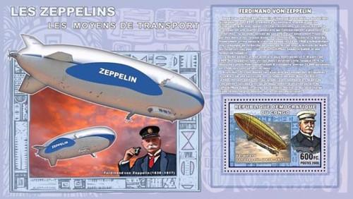 Congo-Zeppelin Airships Mint Souvenir Sheet 3A-166