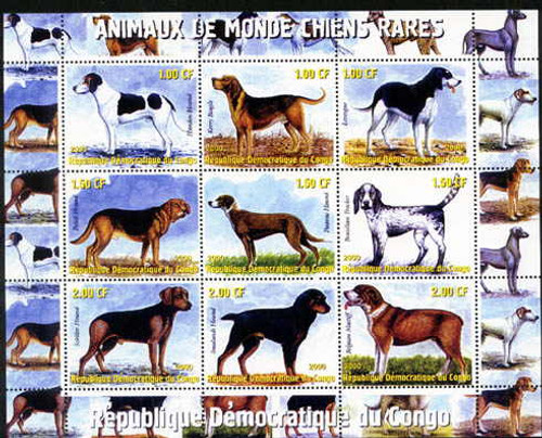 Rare Dogs On Stamps - 9 Stamp Mint Sheet - 4401