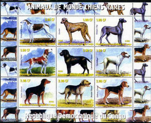 2000 Rare Dogs Lurcher, Rampur, Stichelhaar 9 Stamp Mint Sheet 4402