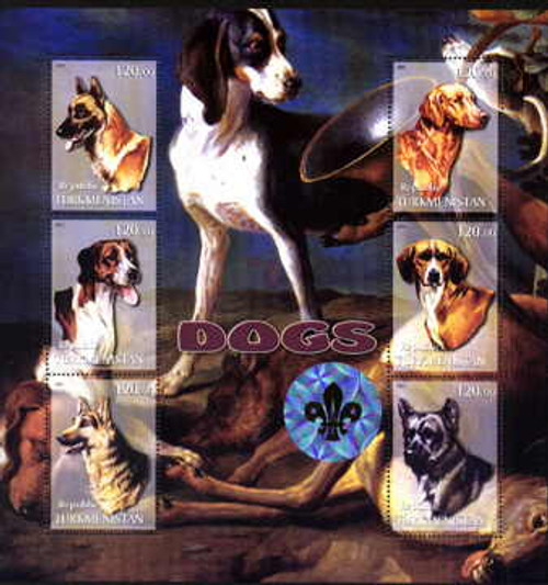 Dogs On Stamps - Mint Sheet of 6 20D-120