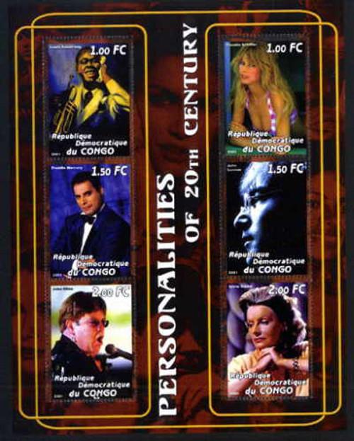2001 Celebrities Satchmo, Lennon, Garbo - 6 Stamp Mint Sheet 4705